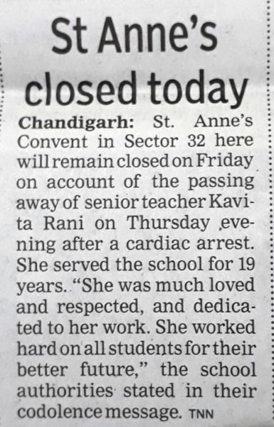 OBITUARIAL NEWS OF MRS KAVITA